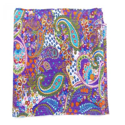 Paisley Design Indian Handmade Gudri Kantha Quilt Throw Bedspread Reversible
