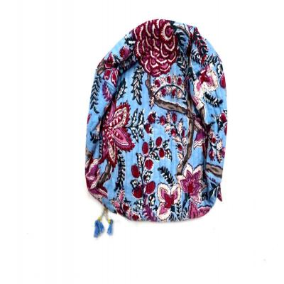 Indian Hand Block Print Cotton Multipurpose Pouch Floral Design Bag Sky Blue Color