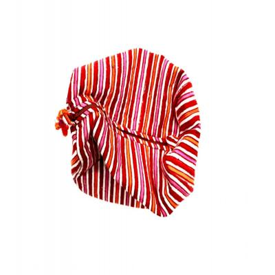 Indian Hand Block Print Cotton Multipurpose Pouch Stripe Design Bag Red Color