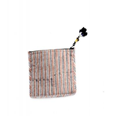 Indian Hand Block Print Cotton Multipurpose Pouch Stripe Design Bag