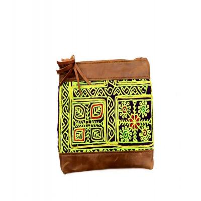 Indian Hand Embroidery Leather Clutch Bag Multi Color