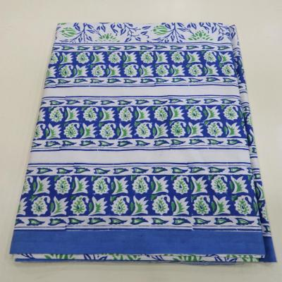 New Indian Hand Block Print Floral Design Blue Color Cotton Flat Bed Sheet, Wall Hanging