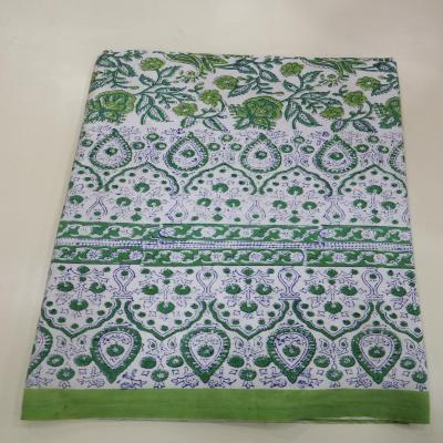 New Indian Hand Block Print Floral Design Green Color Cotton Flat Bed Sheet