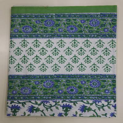 New Indian Hand Block Print Floral Design Green Color Cotton Flat Bed Sheet, Wall Hanging