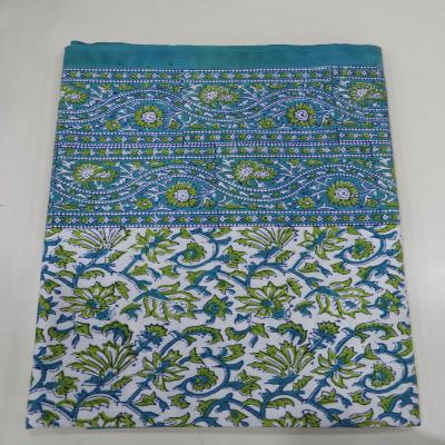 New Indian Hand Block Print Floral Design Green Turquoise Color Cotton Flat Bed Sheet